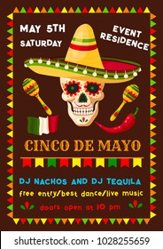 Cinco de Mayo invitation poster for Mexican party fiesta of national holiday celebration. Vector flyer design of skull in sombrero with maracas and Mexico flag or Mexican chili jalapeno peppers