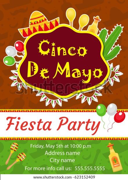 Cinco De Mayo Invitation Template Flyer Stock Vector
