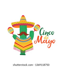 Cinco de Mayo lettering. 5th of May banner. National Mexican holiday. Funny cactus with a mustache in a poncho and a sombrero with maracas cartoon character