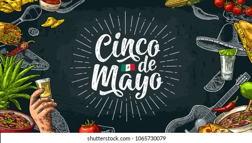 Cinco de Mayo lettering and mexican traditional food with Tequilla, Guacamole, Quesadilla, Enchilada, Burrito, Tacos, Nachos, Chili con carne. Vector vintage engraved illustration on dark background