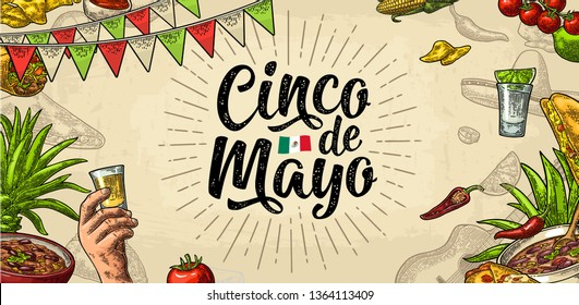 Cinco de Mayo lettering and mexican traditional food with Tequilla, Guacamole, Quesadilla, Enchilada, Burrito, Tacos, Nachos, Chili. Vector vintage engraving on beige background