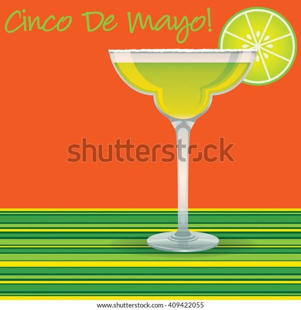 """""""Cinco de Mayo"""" Margarita card in vector format."""