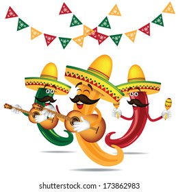 Cinco De Mayo Mariachi jalapeno band with guitar and maracas EPS 10 vector, grouped for easy editing. No open shapes or paths.