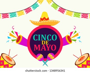 Cinco de Mayo - May 5, federal holiday in Mexico. Fiesta banner and poster design with flags, flowers, decorations - Vector