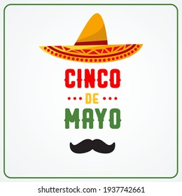 Cinco de Mayo, May 5th in english modern creative banner, sign, design concept, social media template with green and red text and mexican hat on a light background