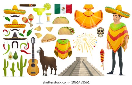 Cinco de Mayo Mexican celebration culture icons. Vector isolated set of Mexico flag, man in sombrero and poncho, tequila or avocado and guitar or maracas, jalapeno pepper and cactus for Cinco De Mayo