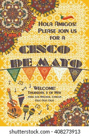 Cinco de Mayo Mexican festive poster template, background with ethnic ornament patterns, cut out paper banner, garland. Card template for greetings, invitations or posters with ethnic mandala pattern.