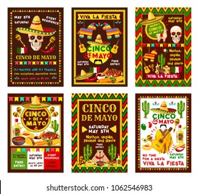 Cinco de Mayo mexican fiesta party banner set for Puebla battle victory celebration. Sombrero, pepper and maracas, chili, jalapeno and guacamole with nachos and tequila, cactus, guitar and Mexico flag