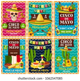 Cinco de Mayo mexican fiesta party banner set for Latin American holiday invitation design. Festive skull with sombrero hat, maracas and chili pepper, tequila margarita, guacamole, cactus and guitar