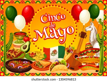 Cinco de Mayo Mexican fiesta party sombreros, guitar and cactus vector greeting card. Mexico flag, chilli tacos and nachos with avocado guacamole and tomato sauce, alpaca and balloons
