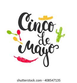 Cinco de Mayo mexican greeting card. Vector illustration with hand drawn sketch jalapeno, cactus, sombrero and maracas.