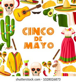 Cinco de Mayo mexican holiday greeting card for Puebla battle victory celebration. Fiesta party sombrero, maracas and cactus, chili pepper or jalapeno, tequila, Mexico flag and taco for poster design