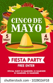 Cinco de Mayo mexican holiday sombrero with festive food invitation banner for fiesta party template. Mexican hat with taco, burrito and nacho, avocado guacamole, chili pepper salsa sauce and churros