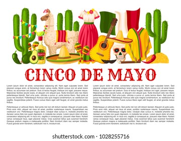 Cinco de Mayo Mexican holiday celebration poster for Mexico national holiday party or fiesta. Vector design of traditional Mexican sombrero, jalapeno pepper, guitar and cactus tequila and Mexico flag