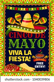 Cinco de Mayo Mexican holiday fiesta invitation card for party celebration. Vector poster for Viva Fiesta of Mexican sombrero and maracas, tortilla chips nachos and jalapeno pepper sauce in flag frame
