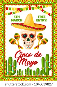 Cinco de Mayo Mexican holiday fiesta invitation card for Mexico traditional party celebration. Vector poster of Mexican sombrero on skull and maracas, flags on cactuses for Cinco de Mayo party