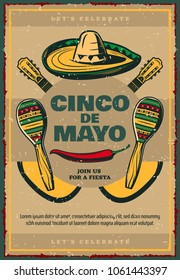 Cinco de Mayo Mexican holiday sketch retro poster of sombrero, jalapeno pepper and maracas or guitars. Vector Mexico flag design for Cinco de Mayo Mexican fiesta party invitation or greeting card