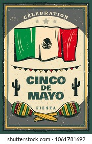Cinco de Mayo mexican holiday retro banner for invitation template. Fiesta party maracas, flag of Mexico and cactus, decorated with festive bunting for Puebla Battle anniversary celebration