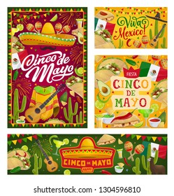 Cinco de Mayo Mexican holiday vector banners. Fiesta party sombrero, cactus and tequila margarita, Mexico flag, mariachi guitar and maracas, chilli, tacos and nachos greeting card with bunting frame