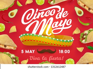 Cinco de Mayo Mexican holiday sombrero and food, fiesta party vector invitation. Mariachi hat and moustache with frame of chili pepper, tacos and nachos, avocado, corn tortilla and lime