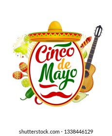 Cinco de Mayo Mexican holiday sombrero, guitar and maracas vector greeting card. Fiesta party mariachi hat, cactus tequila and margarita, chili, avocado and lime, jalapeno pepper and festive fireworks