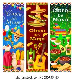 Cinco de Mayo Mexican holiday vector skull, sombrero and guitar, cactus tequila, chilli and maracas, avocado, nachos and tacos, mariachi costumes, pinata, firework and bunting. Puebla Battle themes