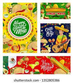 Cinco de Mayo Mexican holiday guitar, sombrero and fiesta party food vector greeting cards. Maracas, chilli tacos and tequila margarita, nachos, avocado and lime with flag of Mexico, firework, garland