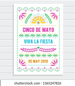 Cinco de Mayo. Mexican holiday poster template. Papel picado banner with floral pattern. Vector greeting card.