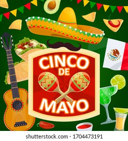 Cinco de Mayo Mexican holiday sombrero and maracas vector design. Mexico fiesta party hat, chili peppers and festival mariachi guitar, Mexican flag, tequila and margarita, tacos, nachos and guacamole
