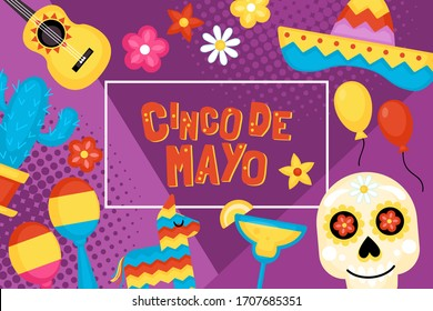 Cinco de Mayo Mexican Holiday banner, poster and greeting card design. Vector illustration