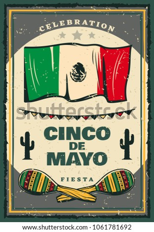 cinco de mayo mexican holiday retro stock vector royalty free