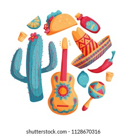 Cinco de mayo mexican illustrations set in bright colours with sombrero, cactus, tequila, tacos