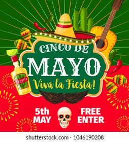 Cinco de Mayo Mexican party invitation card for Mexico traditional holiday fiesta. Vector flyer of Mexico flag, mustaches and jalapeno pepper or avocado and sombrero with guitar for Cinco de Mayo