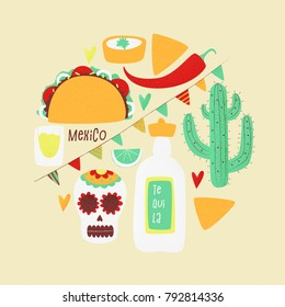 Cinco de mayo, Mexican vector design poster concept with taco