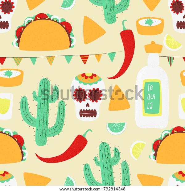 Cinco de mayo, Mexican vector seamless concept with taco