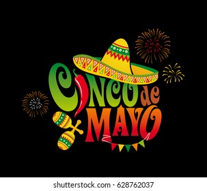 Cinco de mayo. Mexico. Lettering. Design element for poster, postcard. Banner. Vector illustration.