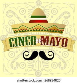 Cinco de Mayo Moustache. Vector Illustration