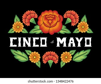 Cinco de Mayo, National Day, 5 May, illustration vector. Floral background with flowers pattern from traditional Mexican embroidery design.