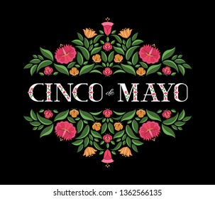 Cinco de Mayo, National Day, 5 May, illustration vector. Floral pattern on black background.