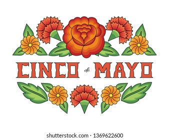Cinco de Mayo, National Day, 5 May, illustration vector. Floral background with rose and carnation flowers pattern from traditional tehuana Mexican embroidery design.