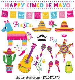 Cinco de Mayo, national Mexican holiday,  vector symbols set (sombreros, pinatas, a guitar, colorful banners and decoration)