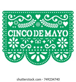 Cinco de Mayo Papel Picado vector design - Mexican paper decoration with pattern and text Cut out paper template with flowers and abstract shapes, festive floral composition in dark green