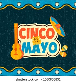 Cinco de mayo party celebration poster. Festive mexico typography text with traditional mariachi decoration and vintage background.EPS10 vector.