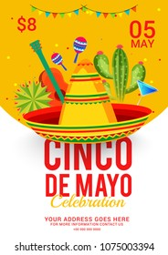 Cinco De Mayo Party Invitation Poster Or Flyer Template Design.