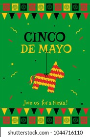 Cinco de mayo party poster template. Festive green vector illustration with native pinata and garland flags for traditional Mexican celebration on cinco de mayo. For restaurant menu or promo flyer.