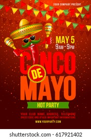 Cinco de Mayo poster design template with lettering, and cheerful red pepper jalapeno in sombrero and with maracas - symbols of holiday. Vector illustration.