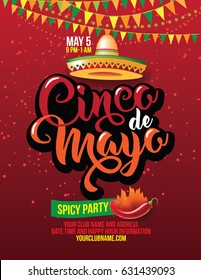 Cinco de Mayo poster design template with lettering, flaming red pepper jalapeno and sombrero - symbols of holiday. EPS 10 vector.