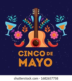 cinco de mayo poster with guitar and decoration vector illustration design