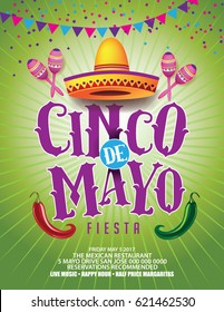 Cinco De Mayo poster or marketing design for celebration of the Mexican holiday on the fifth (Cinco) of May (Mayo). EPS 10 vector.