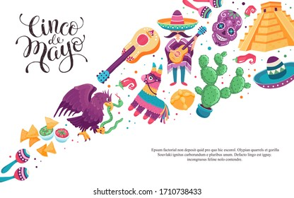 Cinco de Mayo poster. Mexico festival culture vector art. Mexican donkey, sombrero, guitar, cactus illustration isolated on white background.